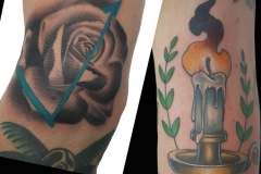 Candle and abstract rose